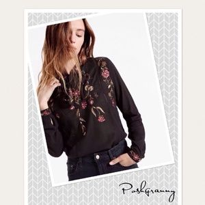 LUCKY BRAND Embroidered Tie Neck Top S
